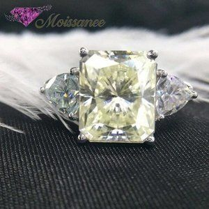 2.30 CT Yellow Radiant Cut Moissanite Silver Ring